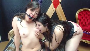 Two chubby brunettes arranged BDSM on a webcam